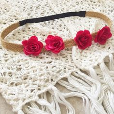 Floral Headband Handmade with love by yours truly • Cute addition to any boho chic outfit! • Headband is made of braided brown shabby twine & stretchy black elastic  Accepting reasonable offers! Accessories Hair Accessories