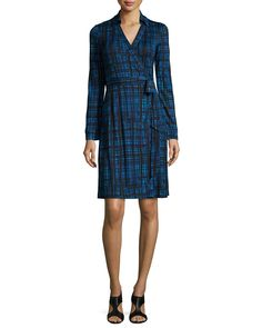 Long-Sleeve Plaid Wrap Dress by Diane von Furstenberg at Neiman Marcus.