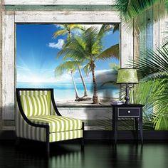 Paradise Beach View through Driftwood Window Wallpaper Mural
