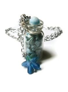 Glass Bottle Necklace with Blue Turquoise Stone Filled, Starfish Charm Accents,  Where ever I go I take mt Birthstone and the Sea..that suits me!  <3