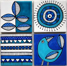 Jocelyn Proust Designs Handpainted Ceramic tiles made to order. Set of 4 x - Jocelyn Proust Designs Handpainted Ceramic tiles made to order. Set of 4 x - Painting Ceramic Tiles, Pottery Painting, Fabric Painting, Ceramic Art, Madhubani Art, Madhubani Painting, Doodles, Indian Folk Art, Indian Art Paintings