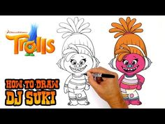 Happy Sunday everyone! Today we'll be showing you How to Draw DJ Suki from the Dreamworks animated film, Trolls. We hope you enjoy this fun drawing tutorial. Dreamworks Animation, Animation Film, Troll, Happy Sunday Everyone, Art Lessons For Kids, Easy Youtube, Step By Step Drawing, Holidays Halloween, Cool Drawings