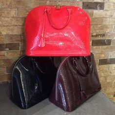 Triple Threat! Louis Vuitton Alma GM bags available to purchase on www.mymoshposh.com! #louisvuitton #lv #lvalmagm #epileather #vernisleather #designerhandbags #fashion #trendy #luxury #purseblog #moshposh #designerconsignment