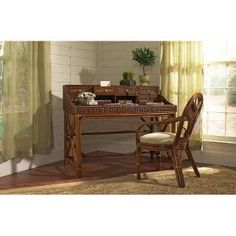 Check out the Boca Rattan 81050 Regency Writing Desk in Urban Mahogany with Drawer priced at $818.00 at Homeclick.com.