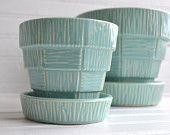 Vintage Blue McCoy Basketweave Flower Pot Planter