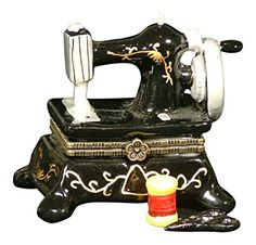 Sew Seamstress Sewing Machine Hinged Trinket Box phb