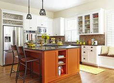 BEFORE + AFTER KITCHEN DESIGN This kitchen cooks as good as it looks, thanks to a high-functioning layout, smart storage, and a walk-in pantry that's a second prep-and-cleanup zone. Diy Kitchen Island, Kitchen Redo, Home Decor Kitchen, Kitchen Storage, Kitchen Remodel, Kitchen Ideas, Kitchen Knobs, Refacing Kitchen Cabinets, Cabinet Refacing