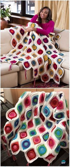 Crochet afghans 75787206212744129 - Crochet Retro Ornament Throw Blanket Free Pattern – Crochet Christmas Blanket Free Patterns Source by jamesmomma Crochet Diy, Crochet Motifs, Crochet Amigurumi, Crochet Squares, Crochet Blanket Patterns, Crochet Crafts, Crochet Stitches, Crochet Projects, Knitting Patterns