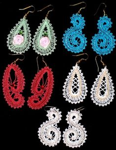 Advanced Embroidery Designs. Battenberg lace earrings. Instructions on how to embroider the machine designs and ideas on how to embellish them.