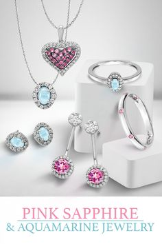 Gemstone Spotlight Series - Pink Sapphire and Aquamarine - These two beautiful gemstones go perfectly together. Pink Sapphire is one of the rarest colors of Sapphire, and Aquamarine is mined at high elevations in Pakistan's Mountains. Which is your favorite? #QualityGold #GemstoneJewelry #Aquamarine #Gemstone #PinkSapphire #Sapphire #jewelry #BirthstoneJewelry #SapphireJewelry Aquamarine Jewelry, Birthstone Jewelry, Diamond Jewelry, Gemstone Jewelry, Jewelry Box, Jewelery, Crazy Colour, Pink Sapphire, Peridot