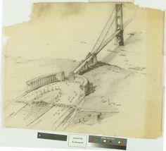 A proposed design for the Golden Gate Bridge.