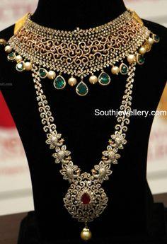 Diamond Choker and Peacock Haram photoDeepika dks Pinboard trails ~*~ Diamond Tennis Necklace, Diamond Choker, Diamond Jewelry, Gold Jewelry, Bold Necklace, Emerald Necklace, Pearl Diamond, Indian Jewellery Design, Indian Jewelry