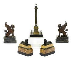 Trajan's Column, Marble Desk, Coin Ring, Napoleonic Wars, Grand Tour, 19th Century, Bookends, Obelisks, Articles
