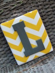 Wall Letters Chevron Letters Painted by spellitwithstyle Cute Crafts, Diy And Crafts, Arts And Crafts, Chevron Letter, Chevron Monogram, Yellow Chevron, Chevron Walls, Gray Yellow, Painted Letters