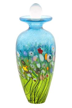 "Art-glass perfume bottle entitled ""Meadow Perfume Bottle,"" created by Robert Held"