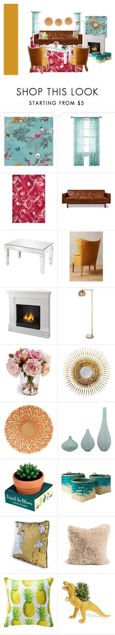 """McTedros Living Room"" by glamabulous on Polyvore featuring interior, interiors, interior design, home, home decor, interior decorating, Liz Claiborne, Safavieh, Gus* Modern and Allan Andrews"