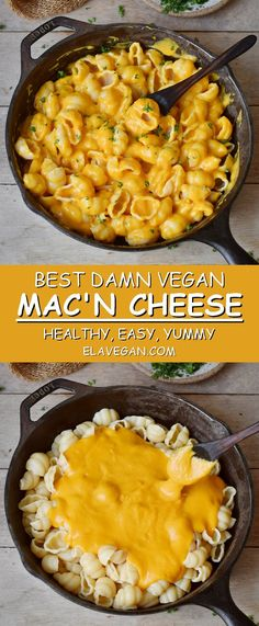 This healthy vegan Mac and Cheese recipe is easy to make and contains only plant-based whole food ingredients. Serve this Mac 'n Cheese with regular pasta, gluten-free pasta or zucchini noodles (zoodles) if you prefer a paleo version. #veganmacandcheese #bestveganmacandcheese #healthymacandcheese #vegancheesesauce #veganpastasauce #elasrecipes | elavegan.com