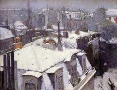 Gustave Caillebotte, Vue toits, effet de neige (1878), Rooftops in the Snow (snow effect), Oil on canvas, H. 25 in; W. 32 in.