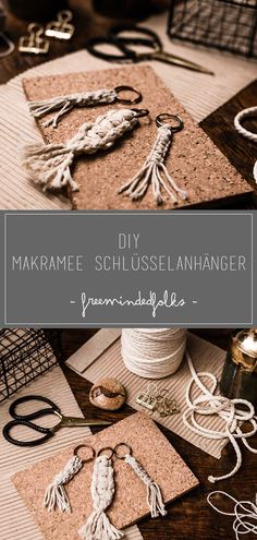DIY // Simple keychain with macrame Hand Made , DIY // Einfache Schlüsselanhänger mit Makramee Macrame refers to a knotting technique coming from the Orient for the production of ornaments or jewele. Diy Jewelry Rings, Diy Jewelry Unique, Diy Jewelry To Sell, Diy Jewelry Holder, Diy Jewelry Making, Diy Crafts To Sell, Beaded Jewelry, Colar Diy, Diy Macrame Wall Hanging