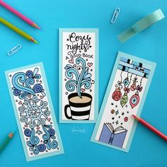 Winter Bookmarks Coloring Page