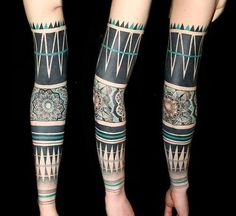 Oh my god, sensational blackwork sleeve - LOVE the geometrics
