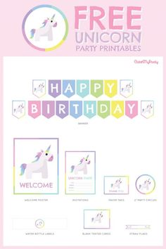Free Unicorn birthday party Printables for young girls | CatchMyParty.com #catchmyparty #unicornpartyprintables #unicornpartydecorations