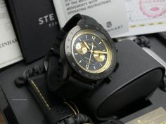 Steinhart  ad: 1,699€ Steinhart Marine Chronograph Edizione NERO Ref. No. L0813; Steel; Automatic; Condition 0 (unworn); Year 2015; New; With box; With papers;