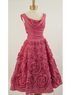 Vintage 50's Ceil Chapman silk rose pink party dress