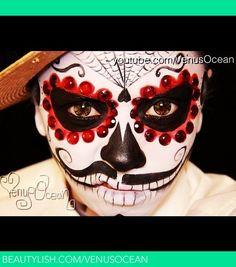 Men's dia de Los muertos (Day of the dead) face painting tutorial | Esmeralda P.'s (venusocean) Photo | Beautylish