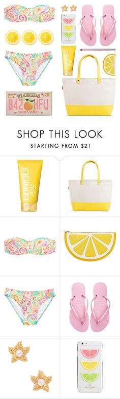 """Citrus Summer"" by lgb321 ❤ liked on Polyvore featuring Clinique, CB Station, Monki, Havaianas, Kenneth Jay Lane, Kate Spade and Urban Decay"