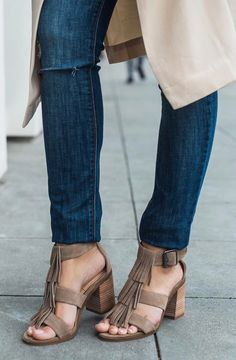 Fringe block heel sandals in taupe suede