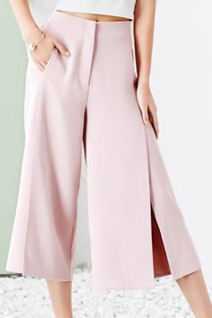 Fashionable High Waist High Slit Solid Color Palazzo Pants For Women