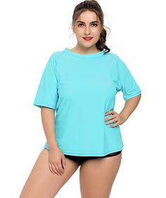 407d44b0a8 ATTRACO Women s Plus-Size Rashguard Swimwear UPF 50 Rash Guard Swim Shirt  Tops