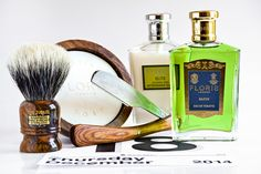 Floris Elite shave soap, aftershave balm and cologne, Simpson Jubilee badger brush, Feather Artist Club DX folding straight razor, December 18, 2014