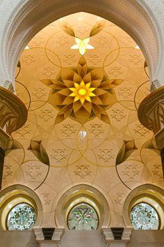 Arch Flower Design in Sheikh Zayed Grand Mosque, Abu Dhabi United Arab Emirates