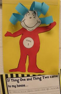 """Create this easy Thing 1 (or Thing 2) craft and then have your children write """"If Thing One and Thing Two came to my house..."""""""