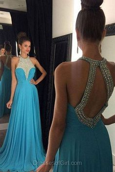 Open Back Prom Dresses, Beaded Prom Dress, Blue Evening Gowns, Sweep Train Party Dresses, Chiffon Formal Dresses