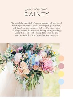 Spring Wedding Color Trend - DaintyWe can't help but think of yummy sorbet with this pastel wedding color palette! Peach, mauve pink, pale yellow, and light blue come together in beautiful harmony to set a Spring Wedding Colors Blue, Pastel Wedding Colors, Yellow Wedding Flowers, Floral Wedding, Spring Wedding Themes, Wedding Peach, Fall Wedding, Rustic Wedding, Pale Yellow Weddings