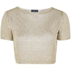 TOPSHOP PETITE Metal Yarn Tee ($58) ❤ liked on Polyvore featuring tops, t-shirts, crop tops, shirts, blusas, gold, petite, petite shirts, metal shirts and brown shirt