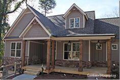 Google search - cedar columns. Grey house. Craftsman. Porch.