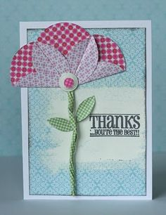 Today I am going to show you a fun and quick way to make these great flowers from your two side patterned paper! Paper Cards, Diy Cards, Paper Punch Art, Fancy Fold Cards, Creative Cards, Flower Cards, Greeting Cards Handmade, Scrapbook Cards, Homemade Cards