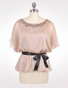 Plus Size Embellished Chiffon Top | Dressbarn