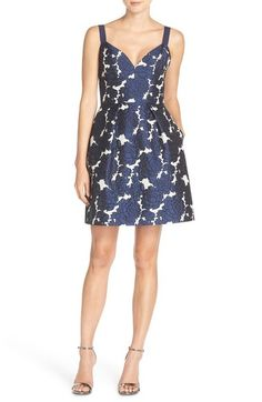 Vera Wang Floral Jacquard Fit & Flare Dress available at #Nordstrom