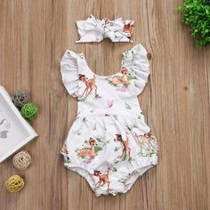 6.89AUD - Toddler Infant Baby Girls Cotton Deer Romper Bodysuit Jumpsuit Clothes Outfits #ebay #Home & Garden