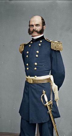 Colorized photograph of Union General Ambrose Burnside :) Us History, American History, Ancient History, Civil War Art, Union Army, American Revolutionary War, America Civil War, Civil War Photos, Armada