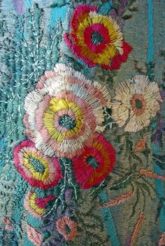 Detail from Babani teal dress & coat 1920's