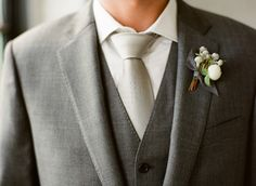 Gray Wedding Suit and White Boutonniere #white #boutonniere #wedding