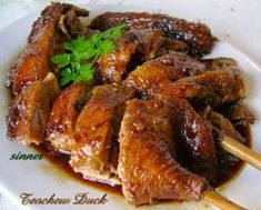 A very scrumptious duck. This teochew braised duck called Pak Lo Ngap in cantonese, is sweet tasting from the use of rock sugar and is contr. Goose Recipes, Duck Recipes, Asian Recipes, Chicken Recipes, Chinese Recipes, Asian Foods, Meat Recipes, Yummy Recipes, Braised Duck