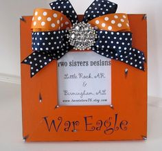 Orange Auburn WAR EAGLE  frame with polka dot bow by twosisters76, $40.00
