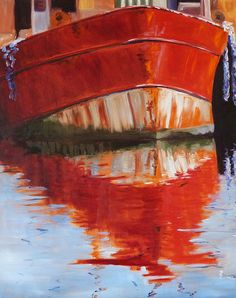 Red Boat Painting by Nancy Merkle; Original and Fine Art Reproduction Prints for Sale